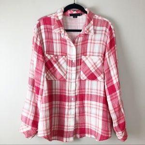 SANCTUARY Pink Tomboy Shirt Button Up Size Large